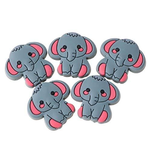 Wenyounge 5 PCS/Paquete Dibujos Animados Forma de Elefante Granos de Silicona para DIY Bebé Collar de dentición Accesorios DE Juguete DE Juguetes SILICONOS TEJEROS para Muchachos Y NIÑAS