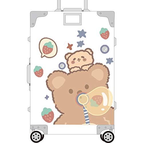 YMSD Pegatinas Maleta Esmeriladas Corea del Sur Ins Bubble Bear Linda Chica Maleta Trolley Box Caja Contraseña Grande