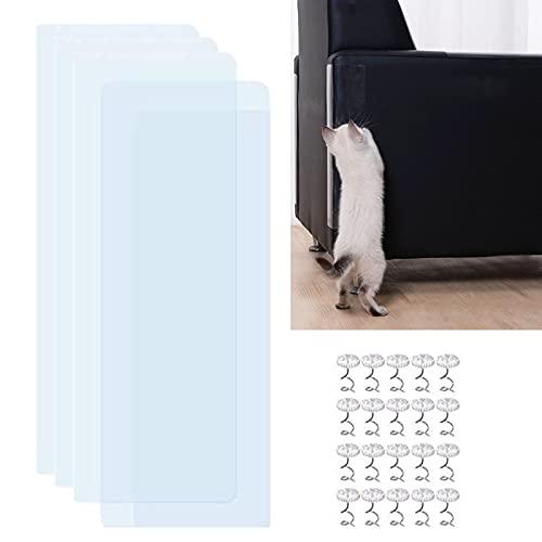 BAIAA Protector Arañazos Mascotas, Almohadillas Arañazos para Gatos, 4 Paquetes, con 20 Pines Giratorios, Protector Arañazos, Juego Mesa para Sofá, Protectores Garras Gato Transparentes (S/4 Pieces)