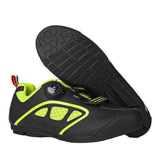 Hzikk All Terrain Non-Locking Cycling Shoes Men MTB Mountain Bike Shoe Leisure Road Bicycle Non-Lock Shoes,Fluorescent yellow,43