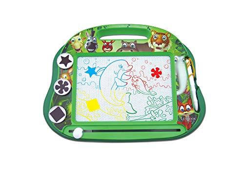 Lexibook- Ardoise Magique Multicolore Animaux, Jouet Artistique et créatif pour Filles et garçons, Magnétique avec Stylet et tampons pour Dessiner, Vert, CRANX550