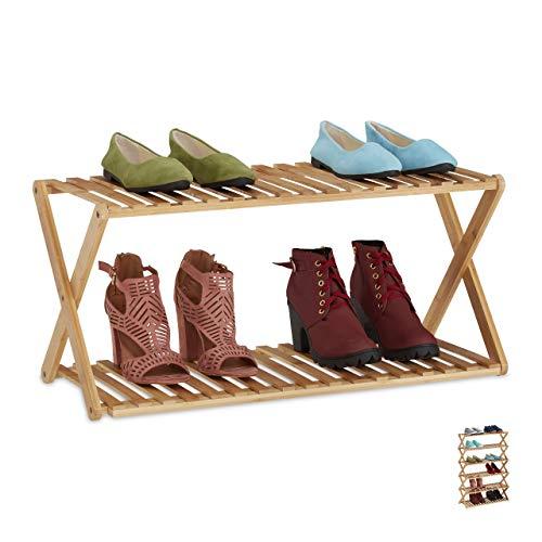 Relaxdays Schuhregal Bambus, faltbar, Flur, 2 Ebenen, bis zu 6 Paar Schuhe, Schuhständer HBT: 32 x 70 x 27,5 cm, natur