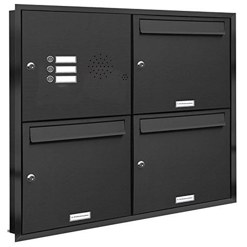 AL Briefkastensysteme, 3er Unterputzbriefkasten mit Klingel in Anthrazit Grau RAL 7016, 3 Fach wetterfeste Briefkastenanlage Design modern