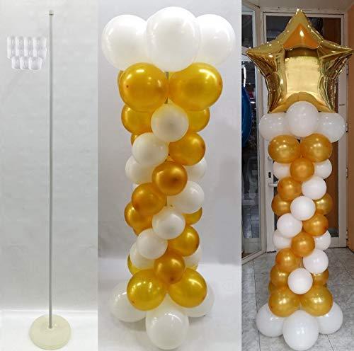 FIESTADEKOR 1 Estructura para Columna DE Globos, POSICIÓN Vertical con Base RELLENABLE DE Agua + Vara 145 CM MOLDEABLE + Clips Conectores DE FIJACIÓN Globos no incluidos