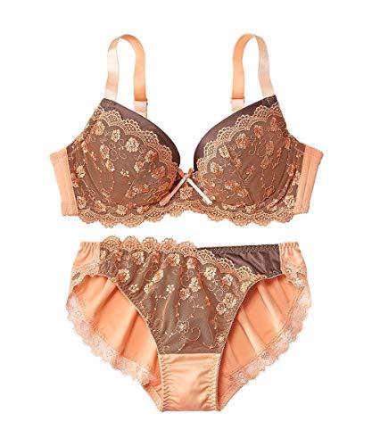 [nissen(ニッセン)] ブラジャー ショーツ セット 大きいサイズ 二配色 (トリンプ) オレンジピール×ブラウンチョコレート D90 / LL-3L