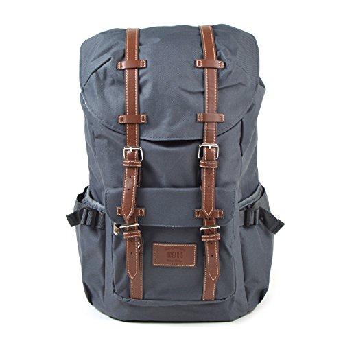 Großer Laptop-Rucksack für 17 Zoll, Damen und Herren, 22L Vintage Backpack - Montreal - lässiger Unisex Retro Tagesrucksack, Grau/hellgraue Streifen