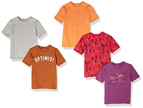 Amazon Essentials Short-Sleeve T-Shirts Camiseta, Paquete de 5 Patines Lightning, 8 años, Pack de 5