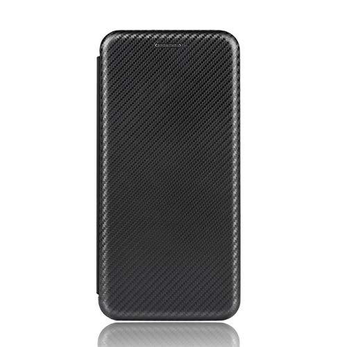 NEINEI Funda para OPPO Find X3 Lite,Premium Fibra de Carbon Billetera Carcasa Libro de Cuero con Ranuras para Tarjetas & Magnético,Teléfono Móvil Cover Flip Folio Case-Negro