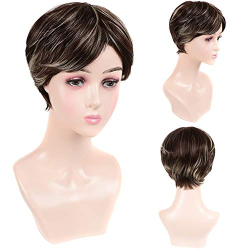 MADONG Choisissez teinté brun cheveux courts perruque blanche striée personnalité de la mode Mme courte perruque cheveux mince (Color : SX112)