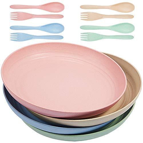 Parboom 4 Piatti, Lavabili in lavastoviglie e Adatti al microonde per Bambini e Adulti 10 Pollici 4 Colori
