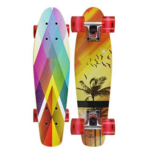 LUO Patinetes para niños Skateboard de Habilidad, Cubierta de Arce de 7 Capas, Tablero de Arce de Tablero de Pescado pequeño, patineta estándar de Doble Kick, Adecuado para Adultos, niñas, niños