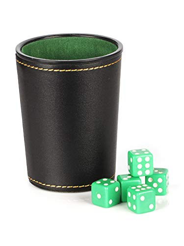FELENX Taza de dados de franela de piel sintética, suministros de juego de bar, taza de dados de entretenimiento KTV, con 5 dados de color al azar, para juegos de fiesta