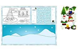 8 Count Kids Christmas Activity Placemats with Stickers