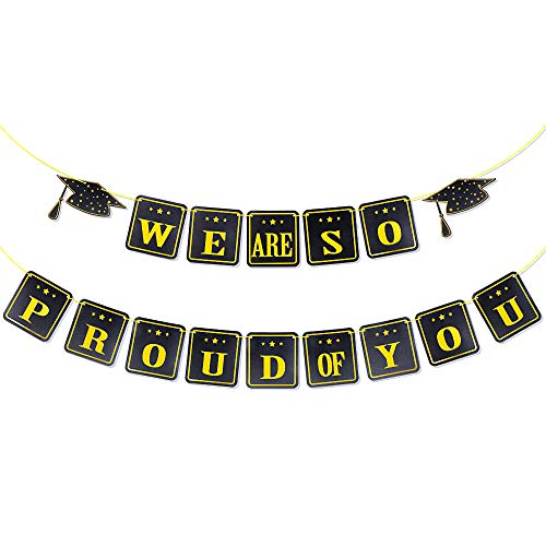 VINFUTUR Graduation Banner, We are So Proud of You Bunting Banner Garland Hanging Backdrop Photo Booth Props for Graduation Party Home Decorations (Black)