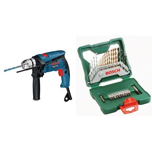 Bosch GSB 13 RE Professional - Taladro percutor (600 W, 240 V) + 2 607 019 324 - Maletín X-Line de 30 unidades para taladrar y atornillar - 172 x 172 x 44