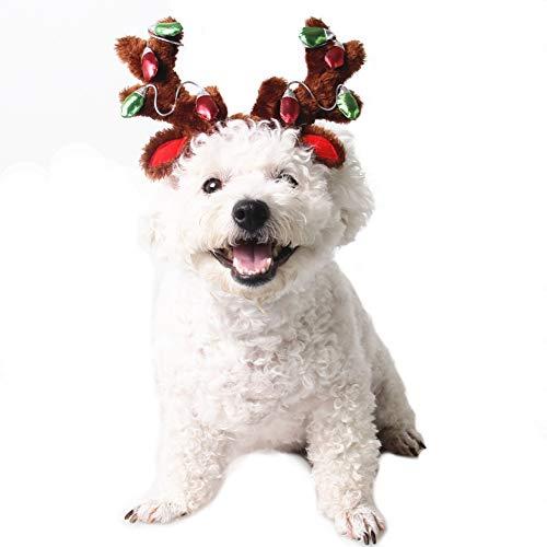 XIYAOHaustier Elch Rentier Geweih Mütze, Weihnachten Hunde Katze Weihnachtskostüm Ausstattungen Kleiner Hund Headwear Zusätze