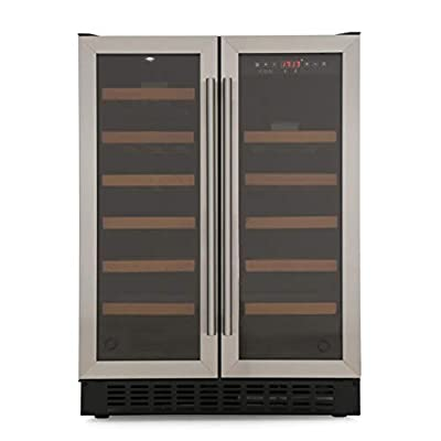 CDA FWC624SS 40 Bottle Freestanding Under Counter Wine Cooler Dual Zone 60cm Wide 82cm Tall - Stainless Steel from Cda