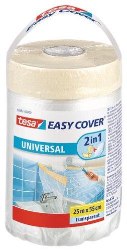 tesa Easy Cover UNIVERSAL Folie für Malerarbeiten 2 in 1 Malerfolie (zum Abdecken und Kreppband zum Abkleben, 25 m x 55 cm)