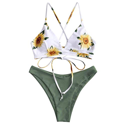 Halter Bikini Set Dames Hoge Taille Retro Bloemenprint Bikini Push Up Badpak Strandjurk Over Bikini