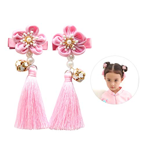 Lurrose 2 Stks Haar Clips Roze Bloem Kassen Parel Leuke Haar Grips Haarspeldjes voor Meisjes Kids