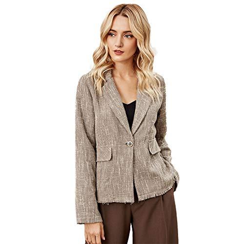 Higlles Damen Jacke Revers Casual Anzug Mantel Slim Short Linen Langarm Anzug Top
