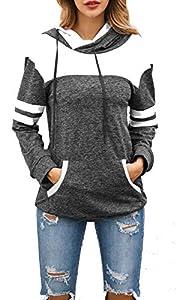 Achruor Kapuzenpullover Hoodies Damen Gestreift Patchwork Pullover Sweatshirts Rollkragen Wintermode Langarmshirt Sport Kapuzenpulli (Darkgrey XL)