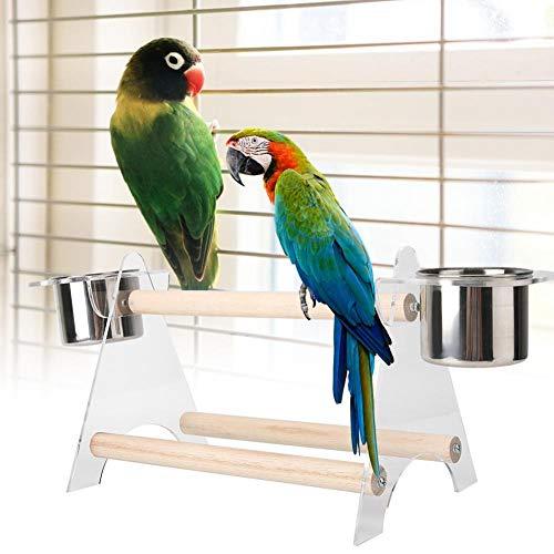 Birdwood-standaard, draagbaar, stevig, metaal, hout, huisdieren, trainingsstation, beker, voedselchassis, lade, standaard, spelen, vogelvink, speelgoed