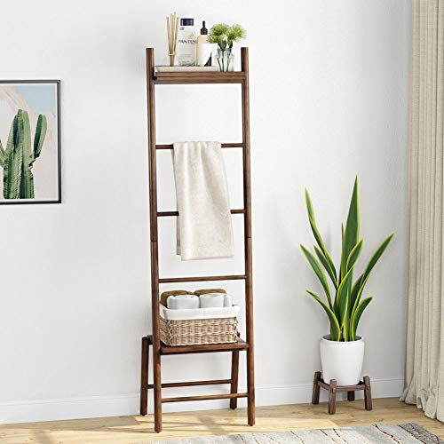 Tribesigns Ladder Shelf, 5 Tiers Wall-Leaning Shelf Blanket Ladder Bamboo Decorative Shelf Corner Shelf Ladder Style for Living Room Bathroom