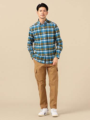 [シップス]シャツオーガニックコットンボタンダウンチェックネルシャツメンズ111140687ライトブルー青XL