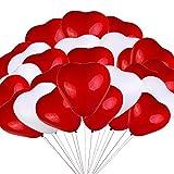 50 globos de látex, globos de corazón de 30 cm en blanco y rojo, globos de látex en forma de corazón para bodas, despedidas de soltera, cumpleaños, celebraciones, día de San Valentín