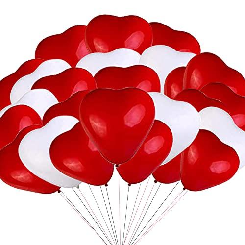 GreSAHOM, 50 palloncini in lattice, 30 cm, a forma di cuore, in lattice bianco e rosso, per matrimoni, feste di nozze, compleanni, cerimonie, celebrazioni, San Valentino, decorazioni per feste