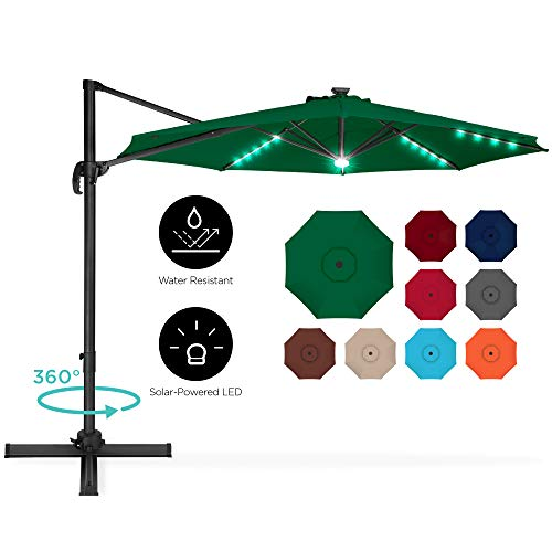 Best Choice Products 10ft 360-Degree LED Aluminum Polyester Cantilever Offset Hanging Market Patio Umbrella for Outdoor Shade, Backyard, Poolside w/Easy Tilt and Smooth Gliding Handle - Green