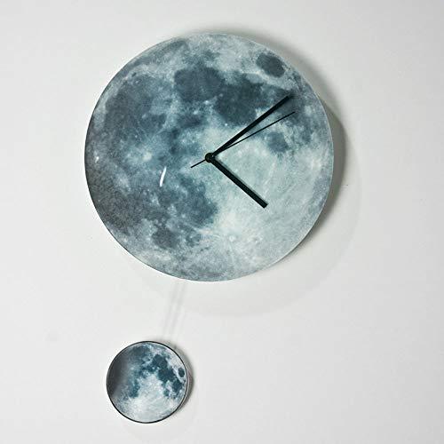 Faus Koco Relojes Creativos Decoración De La Habitación De Los Niños Luminoso Fluorescente Creciente Péndulo Luna Luna Pared Reloj De Pared (Color : Natural)