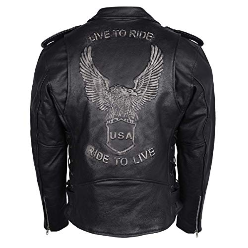 Men's Silver Eagle Embossed Live To Ride - Ride To Live Classic Black Leather Motorcycle Biker Jacket (Silver, 48)