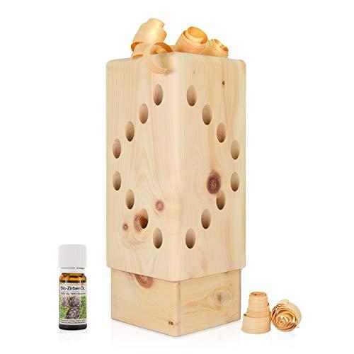 Zirben Duftturm (34cm) mit 10ml Zirbenöl - luftgetrocknetes Zirbenholz - inklusive Zirbenlocken und Wasserschale