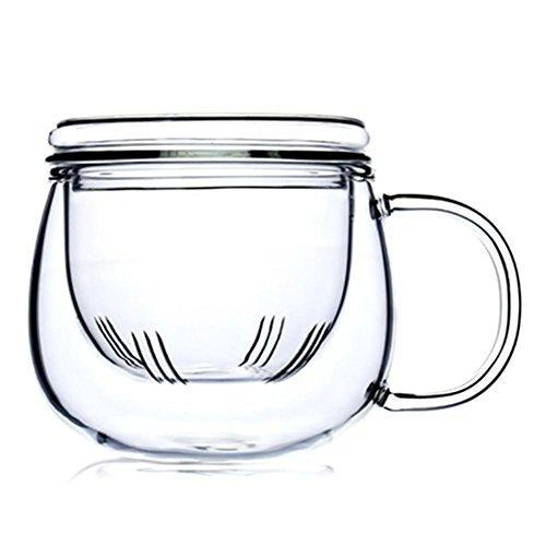Botella de té de cristal de borosilicato de 300 ml con filtro y tapa, resistente al calor, transparente e innovadora