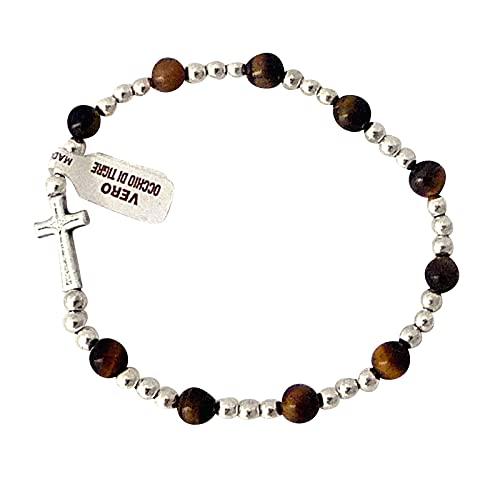Armband met kruis tijgeroog