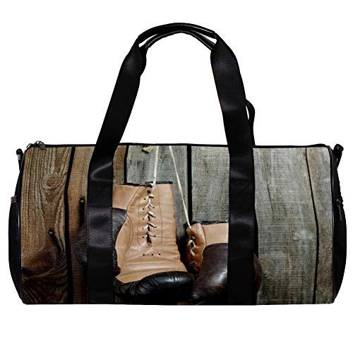 TIZORAX Bolsa de lona para mujeres y hombres, guantes de boxeo de madera para la pared, deportes, gimnasio, bolsa de fin de semana, para viajes al aire libre, bolsa de equipaje