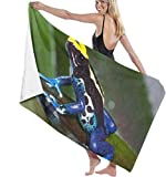 Toalla De Playa Microfibra,Rana Azul Y Amarilla Anti-Arena,Fuerte Absorción De Agua Súper Blando Y Secado Rápido,para Deportes,Viajes,Natación,Playa,Yoga O Baño 130×80cm