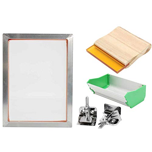 SNOWINSPRING 5Pcs / Set A5 Kit de SéRigraphie Cadre en Aluminium + Pince de CharnièRe + Enduit D'éMulsion + PièCes de L'Outil D'Impression Du Cadre de la Raclette