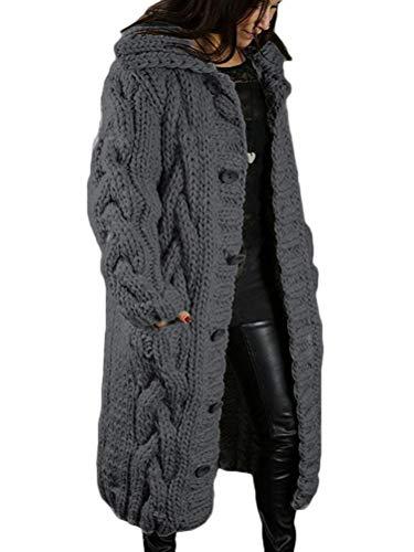 Onsoyours Femme Gilets Cardigan Long en Tricoté Veste Capuche Veste en Tricot Chaud Hiver Pull Ouvert Manteau Chaud Épais Blouson Gilet Grosse Maille Gris Foncé M