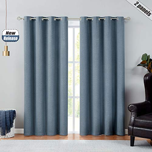 100% Blackout Window Curtain Panels Solid Three Layers Thermal Insulated Noise Reduction Window Treatment Set Grommets Top Drapes for Living Room, Bedroom (Blue, 52''x84'', 2 Panels)