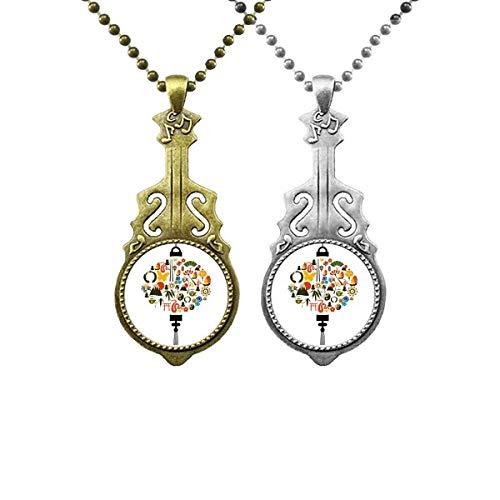 Halskette mit Anhänger, Motiv: Schmetterling, Taiji, Teekanne, Berg, Musik, Gitarre, Anhänger