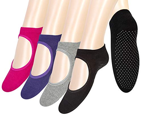 4 Pairs Yoga Socks for Women Non Slip Socks for Barre Ballet Dance Hospital Pilates Skid Slipper Grip Socks Gifts,Multicolor