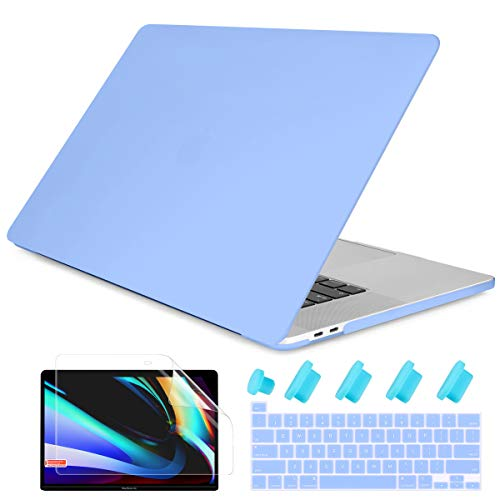 Dongke MacBook Pro 13 2020 Case Model M1 A2338/A2251/A2289, Plastic Smooth Frosted Hard Shell Cover Case for MacBook Pro 13 inch with Retina Display and Touch Bar Fits Touch ID, Senerity Blue