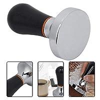コーヒータンパー、57mm実用的ハンドヘルドアルミコーヒーメーカータンパーツール、ハンドル付き(ブラック)