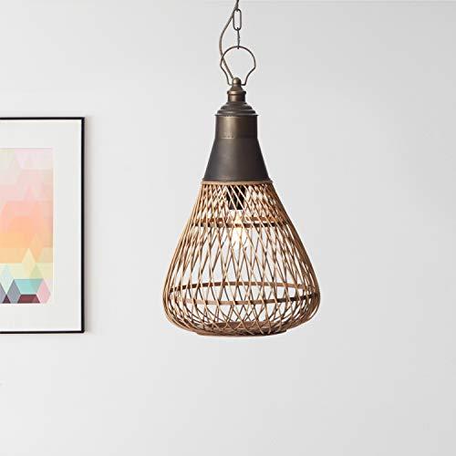 Lámpara colgante Nature, 1 bombilla E27 máx. 60 W de metal/ratán en color marrón claro.