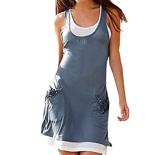 Kaister Neu Frauen O-Neck Tasche Boho Sleeveless beiläufige Mini Beachwear Kleid Sommerkleid Bikini Bluse Badebekleidung