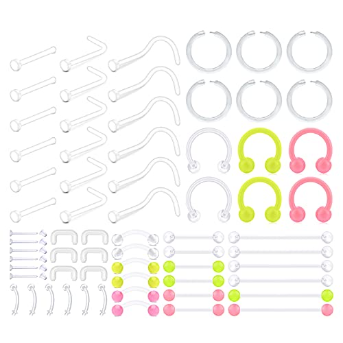 D.Bella Mix Style Clear Piercing Retainer 14G 16G 20G Bioflex Flexible Plastic Piercing Retainer for Nose Septum Tongue Eyebrow Tragus Navel Belly Nipple Barbell Lip Labret Stud Retainer 66Pcs