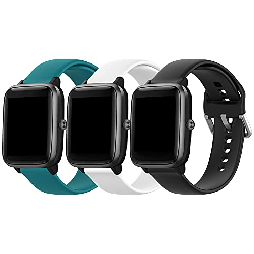 Replacement Bands for Letsfit ID205L ID205S Smart Watch Soft Silicone Quick Release Wristbands for Veryfitpro ID205L,ID205,ID205S(Green+Black+White)